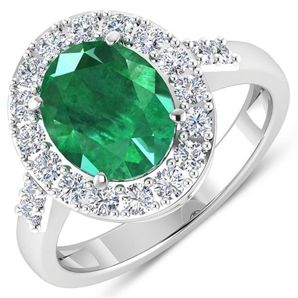 Natural 2.75 CTW Zambian Emerald & Diamond Ring 14K White Gold - REF-130M5T