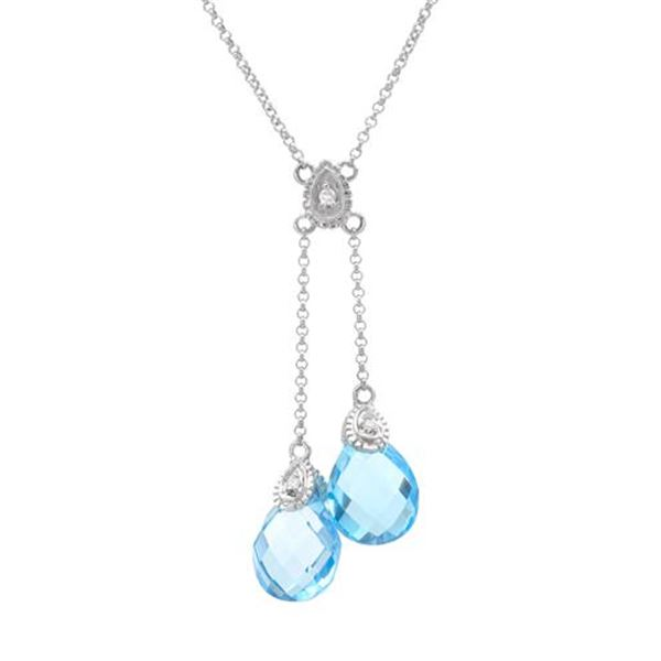 Natural 6.59 CTW Topaz & Diamond Necklace 14K White Gold - REF-40M5F
