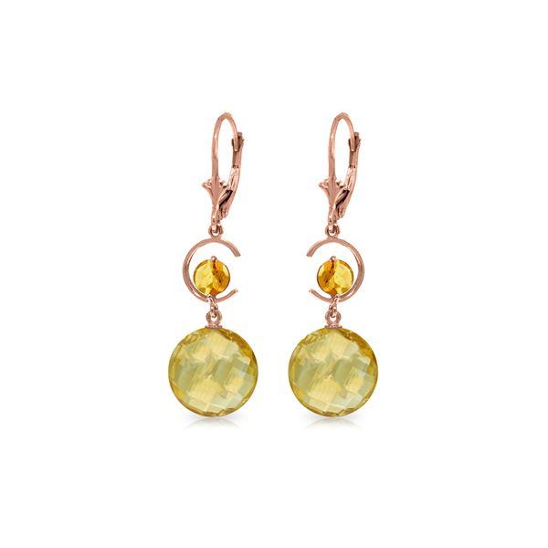 Genuine 11.60 ctw Citrine Earrings 14KT Rose Gold - REF-47N5R