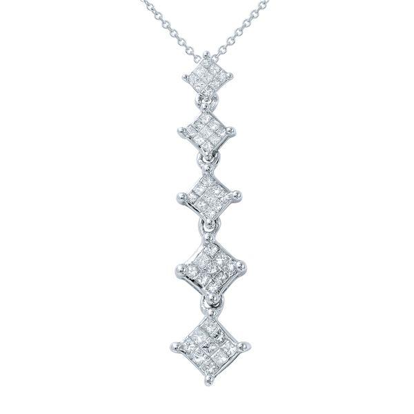 Natural 0.50 CTW Princess Diamond Necklace 14K Gold - REF-78H3W