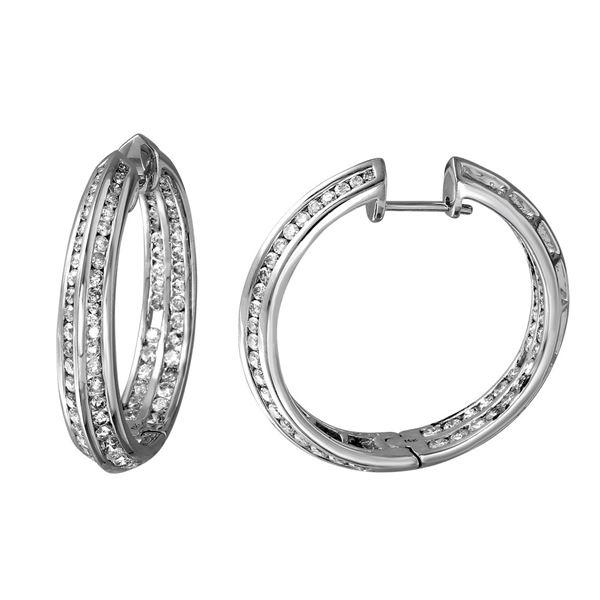 Natural 3.09 CTW Diamond Earrings 14K White Gold - REF-288R2K