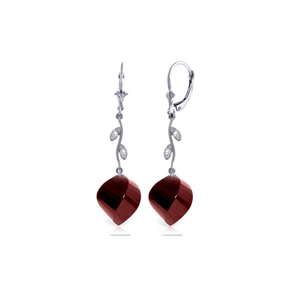 Genuine 30.52 ctw Ruby & Diamond Earrings 14KT White Gold - REF-66T2A
