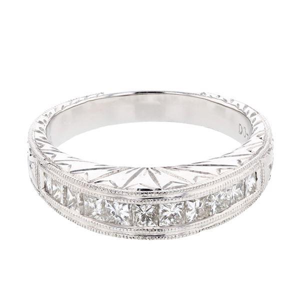 Natural 0.74 CTW Princess Diamond Band Ring 18K White Gold - REF-171Y2N