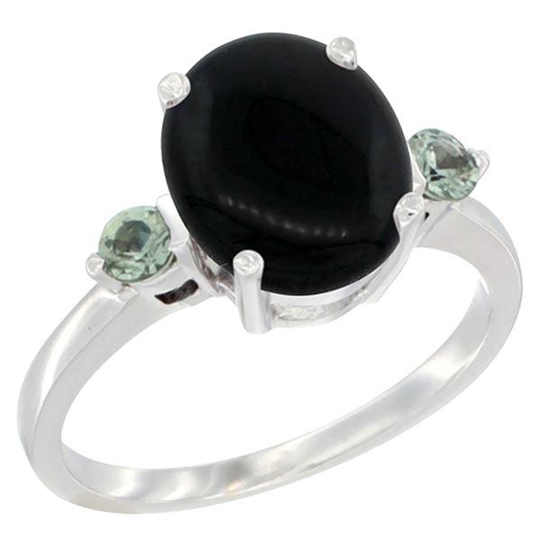 1.79 CTW Onyx & Green Sapphire Ring 10K White Gold - REF-22R4H