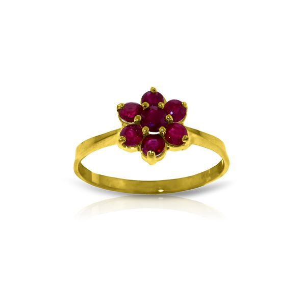 Genuine 0.66 ctw Ruby Ring 14KT Yellow Gold - REF-31X4M