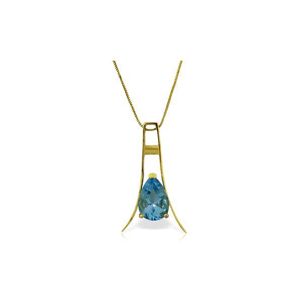 Genuine 1.50 ctw Blue Topaz Necklace 14KT Yellow Gold - REF-35V4W