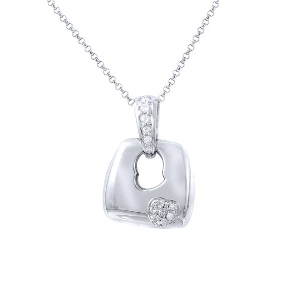 Natural 0.21 CTW Diamond Necklace 14K White Gold - REF-46H8W