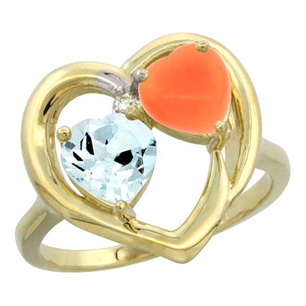 1.31 CTW Aquamarine & Diamond Ring 10K Yellow Gold - REF-27A5X