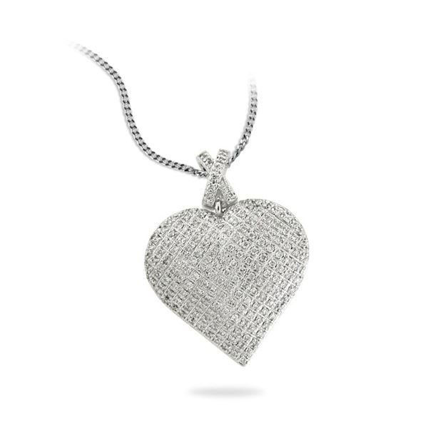 Natural 0.50 CTW Diamond Necklace 14K White Gold - REF-91M8F
