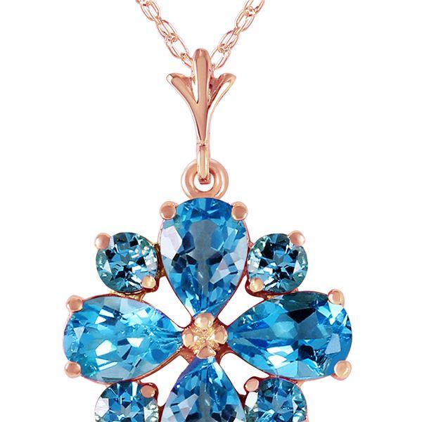 Genuine 2.43 ctw Blue Topaz Necklace 14KT Rose Gold - REF-29K7V