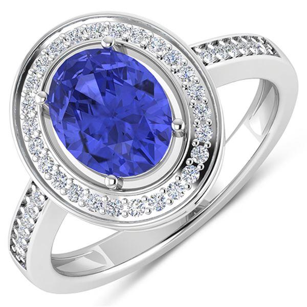 Natural 1.82 CTW Tanzanite & Diamond Ring 14K White Gold - REF-64H8M
