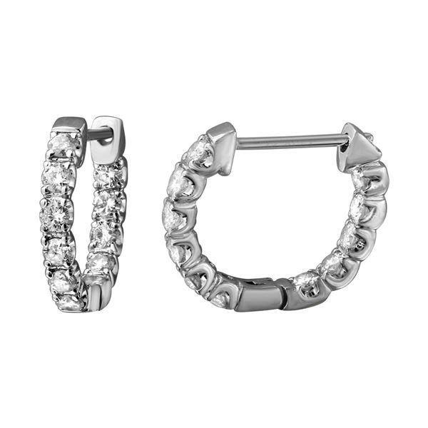 Natural 1.04 CTW Diamond Earrings 14K White Gold - REF-104H4W