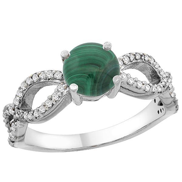 2.43 CTW Malachite & Diamond Ring 14K White Gold - REF-49A5X