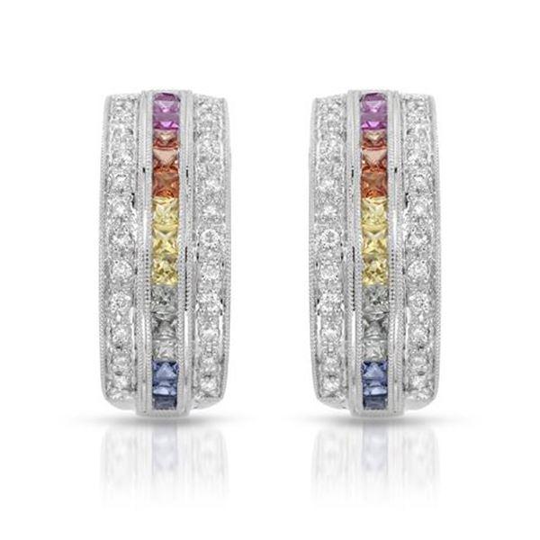 Natural 1.56 CTW Multi-Sapphire & Diamond Earrings 14K White Gold - REF-92Y7N