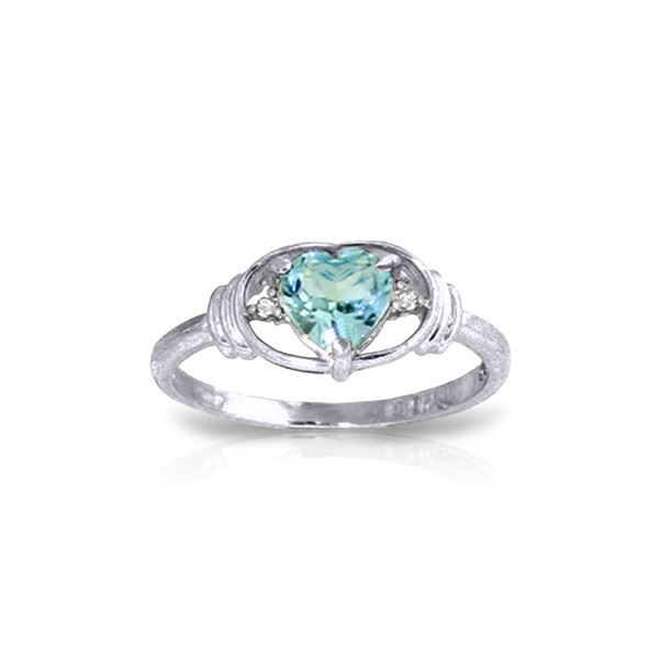 Genuine 0.96 ctw Blue Topaz & Diamond Ring 14KT White Gold - REF-40H3X