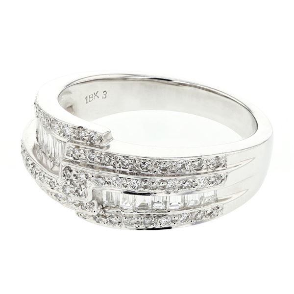 Natural 0.72 CTW Baguette & Diamond Ring 18K White Gold - REF-127R8K