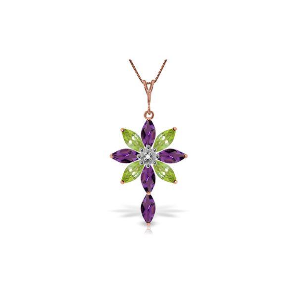 Genuine 2.0 ctw Amethyst, Peridot & Diamond Necklace 14KT Rose Gold - REF-47A4K