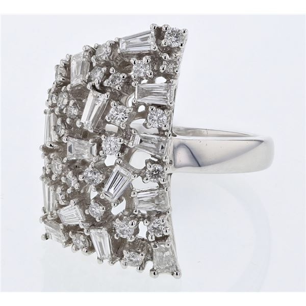 Natural 1.43 CTW Diamond Ring 18K White Gold - REF-236X7T