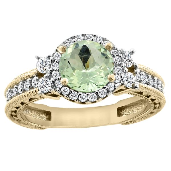 1.46 CTW Amethyst & Diamond Ring 14K Yellow Gold - REF-77H4M