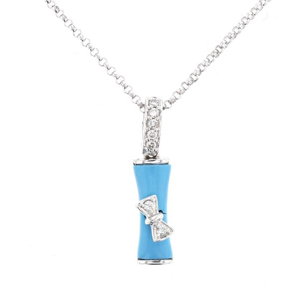 Natural 0.73 CTW Turquoise & Diamond Necklace 14K White Gold - REF-24M3F