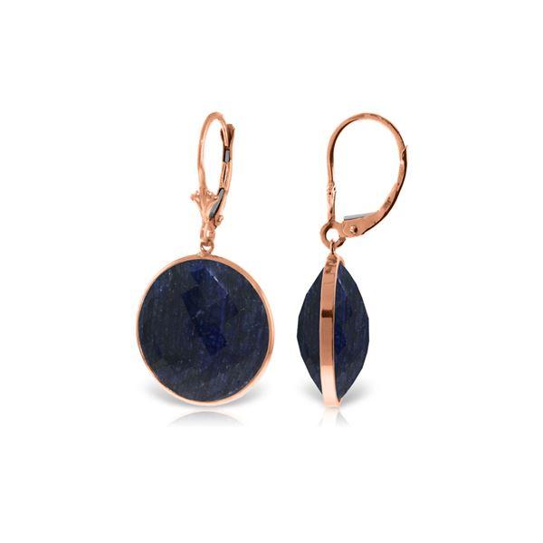Genuine 46 ctw Sapphire Earrings 14KT Rose Gold - REF-62Y3F