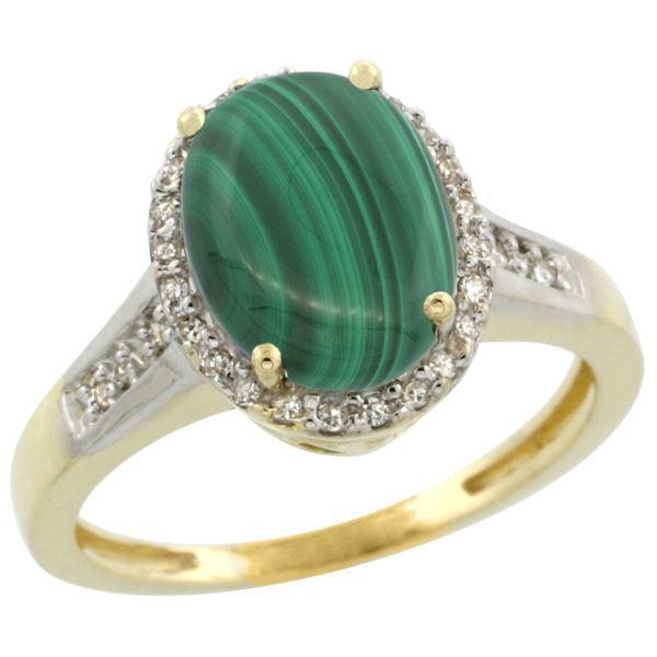 2.60 CTW Malachite & Diamond Ring 14K Yellow Gold - REF-52K7W