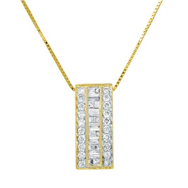 Natural 0.50 CTW Diamond & Baguette Necklace 14K Yellow Gold - REF-56R7K