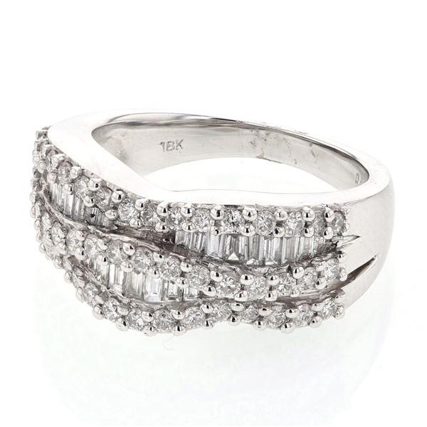 Natural 1.20 CTW Diamond & Baguette Ring 18K White Gold - REF-197R3K