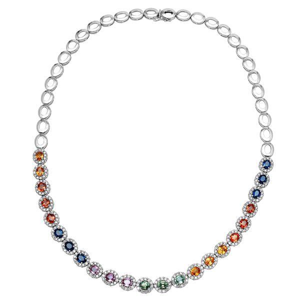 Natural 15.32 CTW Multi-Sapphire & Diamond Necklace 14K White Gold - REF-523H8W