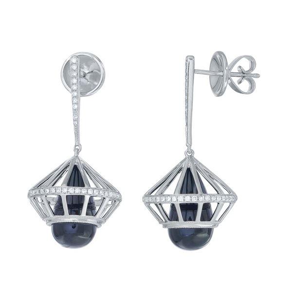 Natural 6.34 CTW Onyx & Diamond Earrings 14K White Gold - REF-133H2W