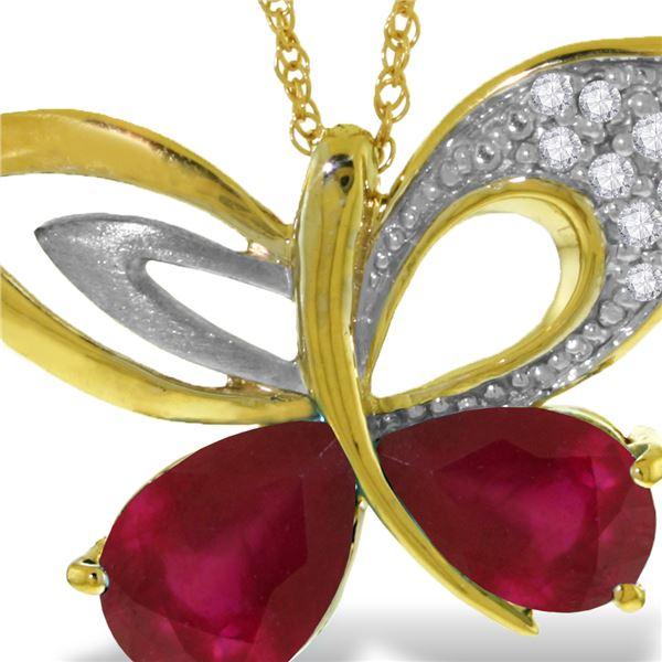 Genuine 4.38 ctw Ruby & Diamond Necklace 14KT Yellow Gold - REF-132H2X
