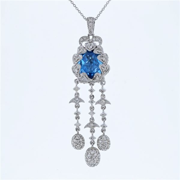 Natural 5.91 CTW Topaz & Diamond Necklace 18K White Gold - REF-192M6F