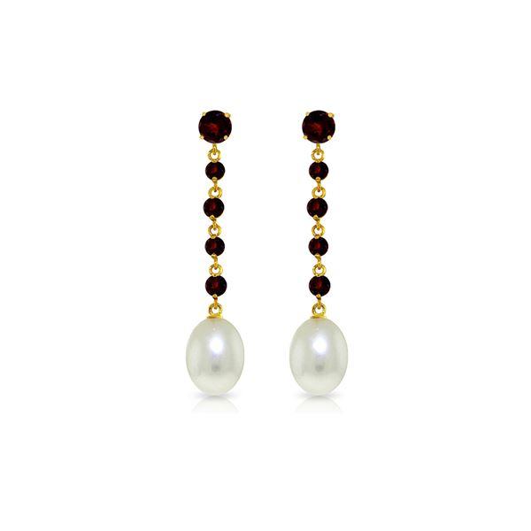 Genuine 10 ctw Garnet & Pearl Earrings 14KT Yellow Gold - REF-32A4K