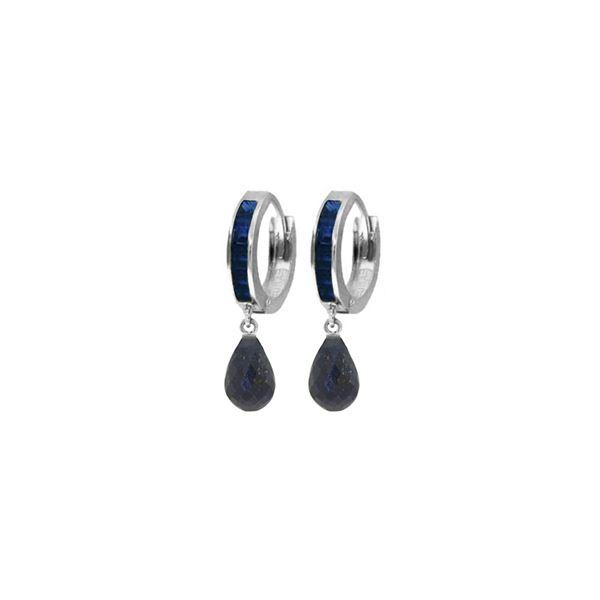 Genuine 7.8 ctw Sapphire Earrings 14KT White Gold - REF-45T8A