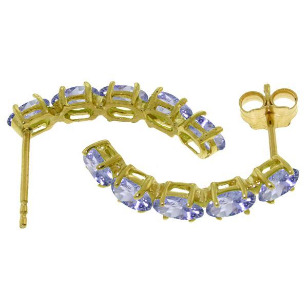 Genuine 2.5 ctw Tanzanite Earrings 14KT White Gold - REF-52T9A
