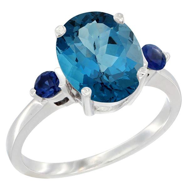 2.64 CTW London Blue Topaz & Blue Sapphire Ring 14K White Gold - REF-32X8M
