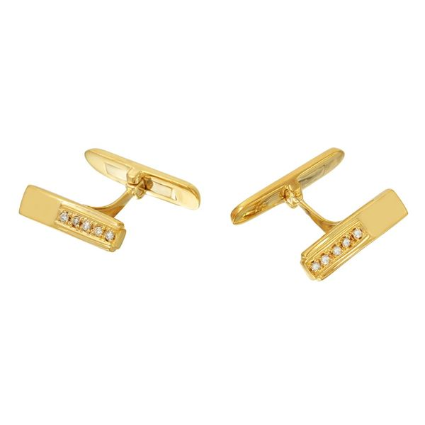 Natural 0.09 CTW Diamond Cuff Links 18K Yellow Gold - REF-90H2W