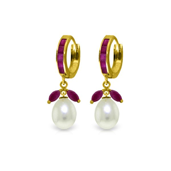 Genuine 10.30 ctw Ruby & Pearl Earrings 14KT Yellow Gold - REF-61R3P