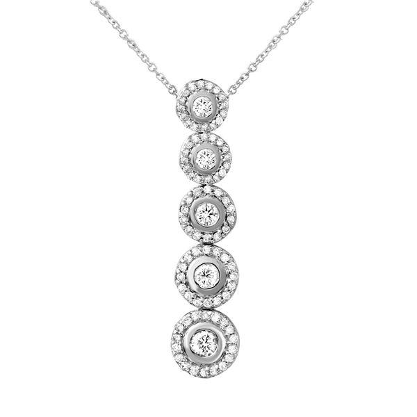 Natural 1 CTW Diamond Necklace 14K White Gold - REF-146X7T
