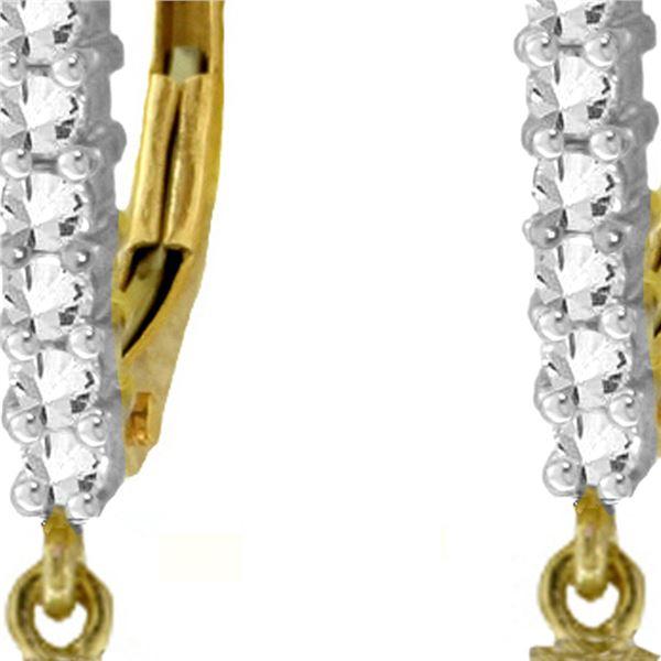 Genuine 4.8 ctw Pink Topaz & Diamond Earrings 14KT Yellow Gold - REF-54P5H