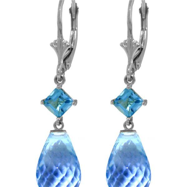 Genuine 11 ctw Blue Topaz Earrings 14KT White Gold - REF-39W3Y