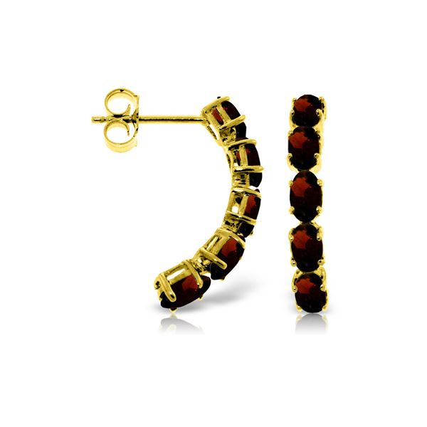Genuine 2.5 ctw Garnet Earrings 14KT Yellow Gold - REF-37Y4F