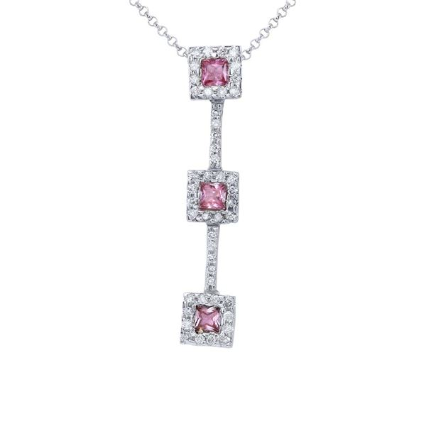 Natural 0.97 CTW Pink Sapphire & Diamond Necklace 14K White Gold - REF-45H2W