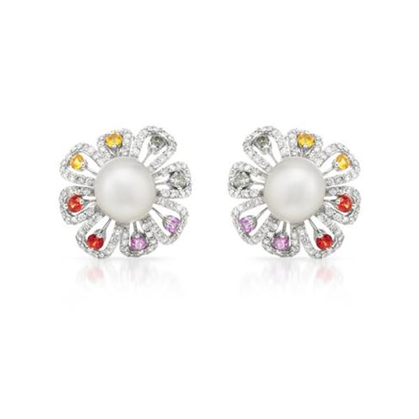 Natural 29.8 CTW Pearl & Diamond Earrings 14K White Gold - REF-298H8W