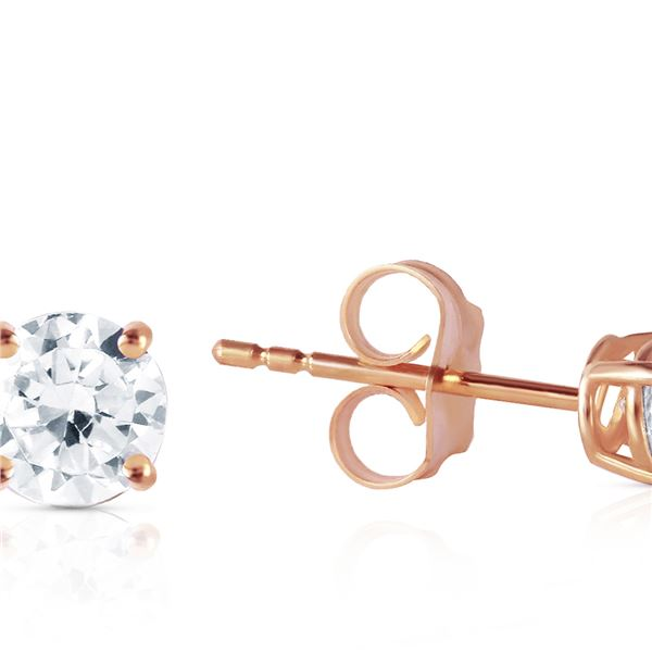 Genuine 0.40 ctw Diamond Anniversary Earrings 14KT Rose Gold - REF-102A9K