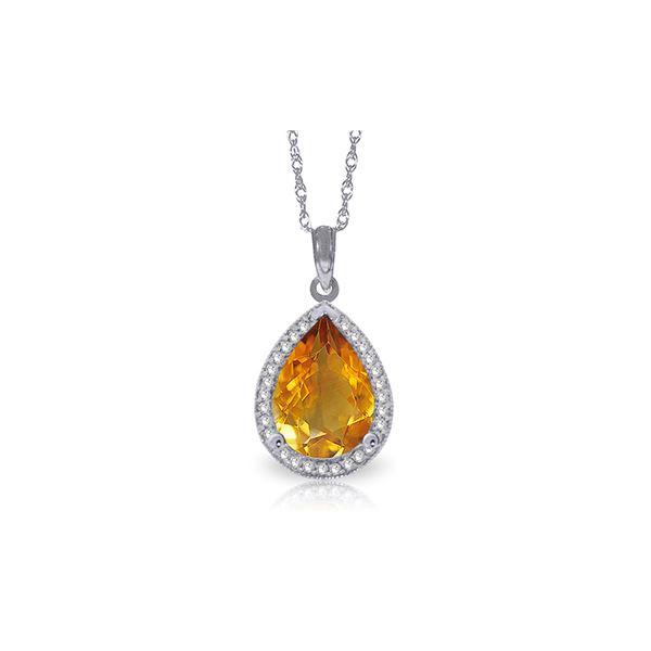 Genuine 3.66 ctw Citrine & Diamond Necklace 14KT White Gold - REF-70F3Z