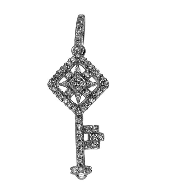 Natural 0.15 CTW Diamond Necklace 14K White Gold - REF-26M3F
