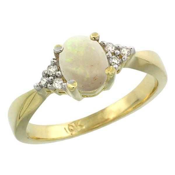 0.52 CTW Opal & Diamond Ring 14K Yellow Gold - REF-36A7X
