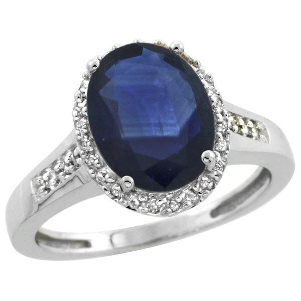 2.60 CTW Blue Sapphire & Diamond Ring 14K White Gold - REF-64W9F