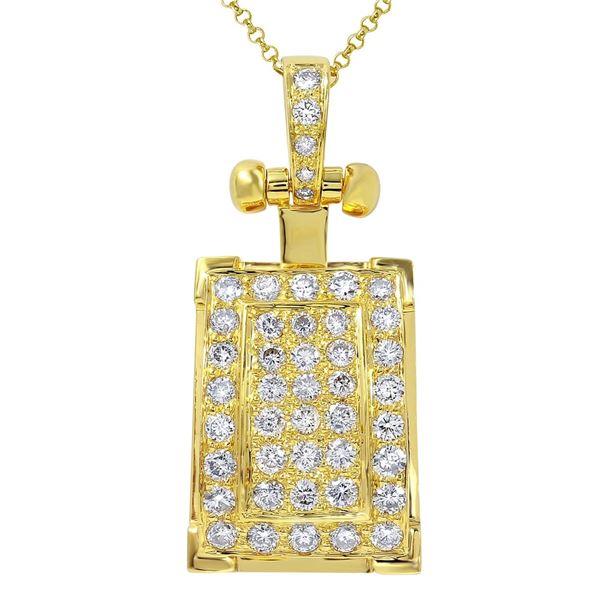 Natural 2 CTW Diamond & Pendant 14K Yellow Gold - REF-288Y9N